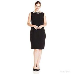 Calvin Klein Plus-Size Pearl Neck Sheath Dress